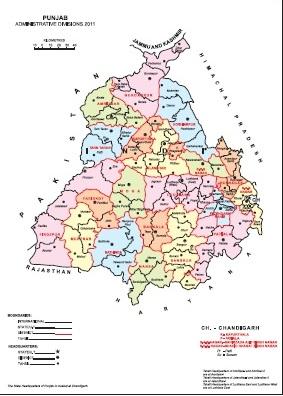 Map Of Punjab Villages Punjab Tahsil Map, Punjab District Map, Census 2011 @vList.in