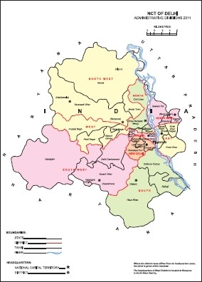 Administrative Map of NCT of Delhi