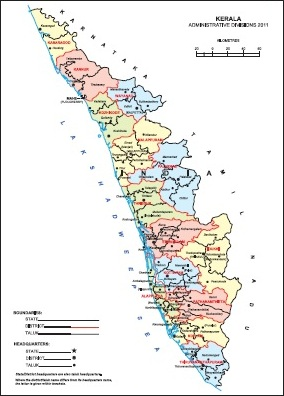 Kerala Districts Map Kerala Taluk Map, Kerala District Map, Census 2011 @vList.in