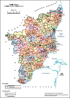 Administrative Map of Tamil Nadu